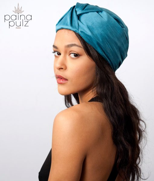 Turban femme en soie couleur cyan