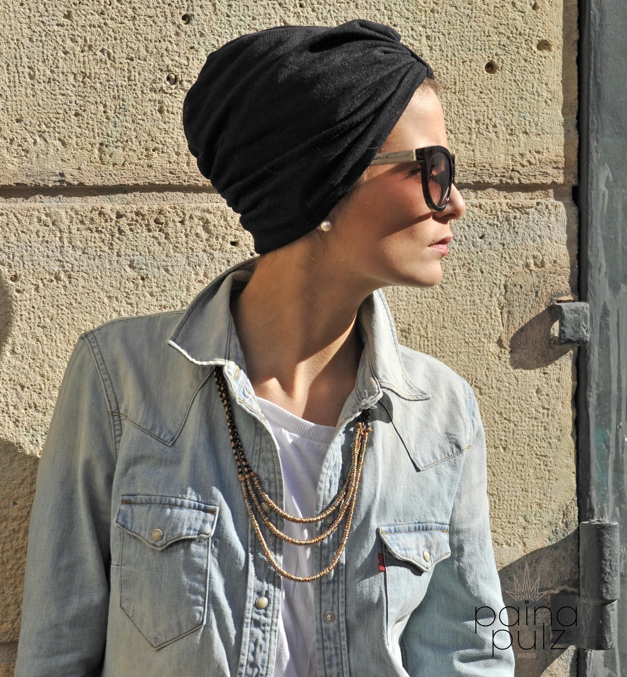 Turban femme Paina Pulz - Paris, Le Casual, noir
