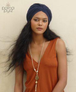 Turban Femme Païna basic bleu beau turban nervuré fashion