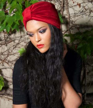 Turban femme Le Velvet Retro rouge