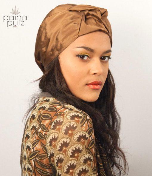 turban femme soie marron glacé