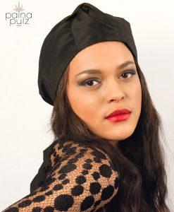 Turban Black mat soie noire turban femme chic