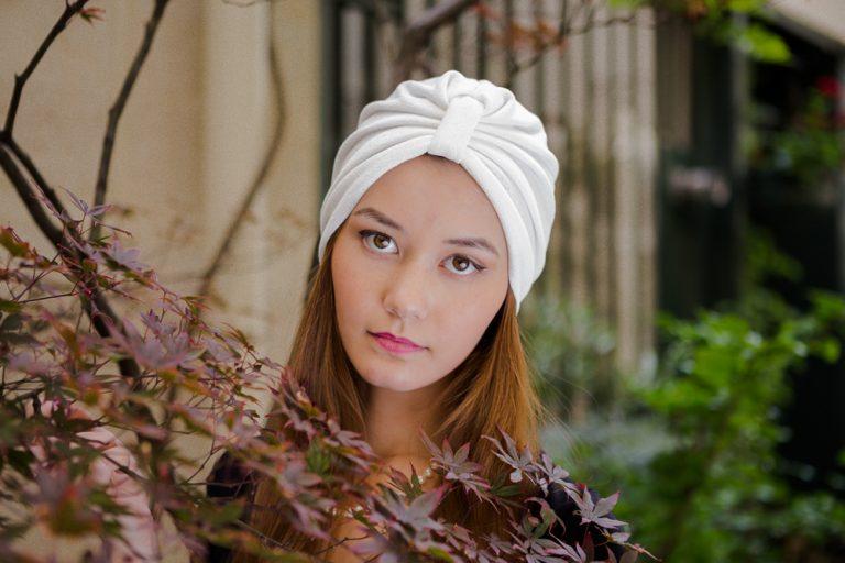 Dandy blanc turban femme maille