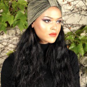 Turban femme Le Tenesquare or noir