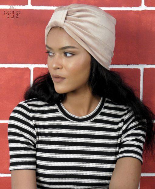 Turban femme modèle Velvet Retro beige
