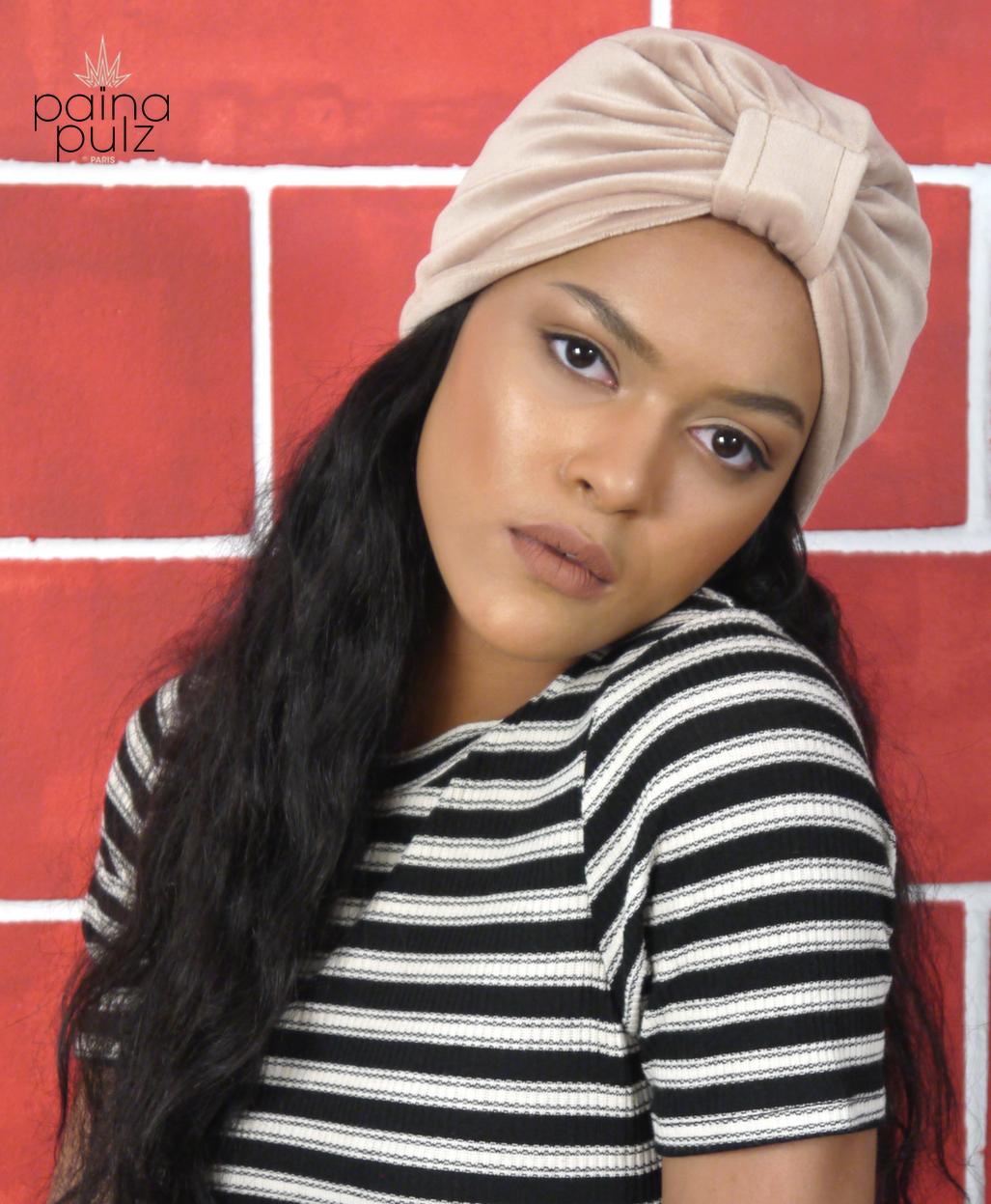 Turban femme modèle Retro beige
