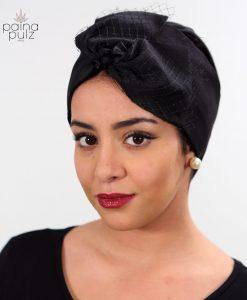 Turban soie voilette noir