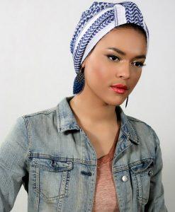 Le Crescent Moon Blue, le beau turban bleu en keffieh