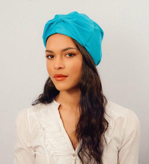 Le turban Candy chic Bleu Cyan