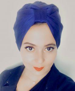 Le turban maille bleue